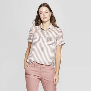 NEW Brown Striped Sheer Short Sleeve Blouse sz S